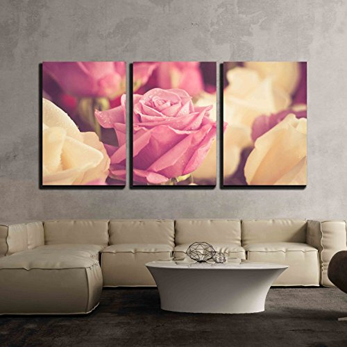 wall26 - 3 Piece Canvas Wall Art - Flowers Rose with Filter Effect Retro Vintage Style - Modern Home Decor Stretched and Framed Ready to Hang - 16