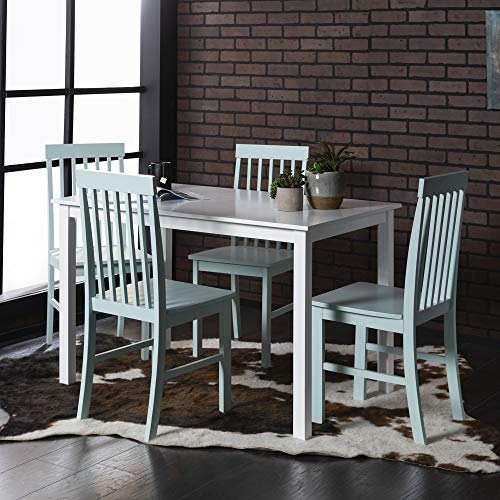 Walker Edison Furniture Company Modern Color Dining Room Table and Chair Set Small Space Living, Sage