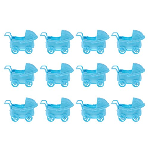 SunniMix Pack of 12 Plastic Baby Carriage Baby Shower Baby Birthday Party Favor Table Decor Pendents DIY Craft 3'' - Blue, as described