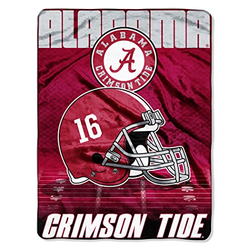 Officially Licensed NCAA Alabama Crimson Tide Overtime Micro Raschel Throw Blanket, 60