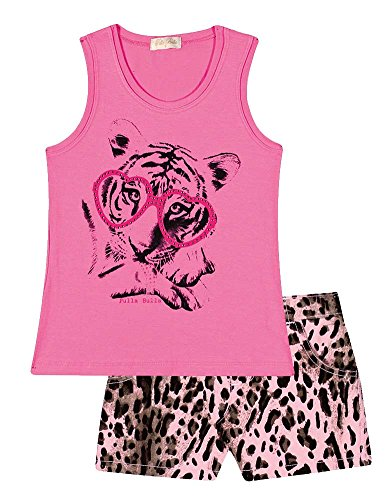 Dance Print Shorts (Girl Outfit Graphic Tank Top and Cheetah Print Shorts Set 2-4 Years - Bubblegum)