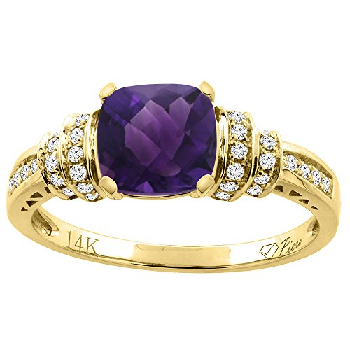 14K Yellow Gold Natural Amethyst Ring Cushion Cut 7x7 mm Diamond Accents, size 7.5 14k Yellow Gold Natural