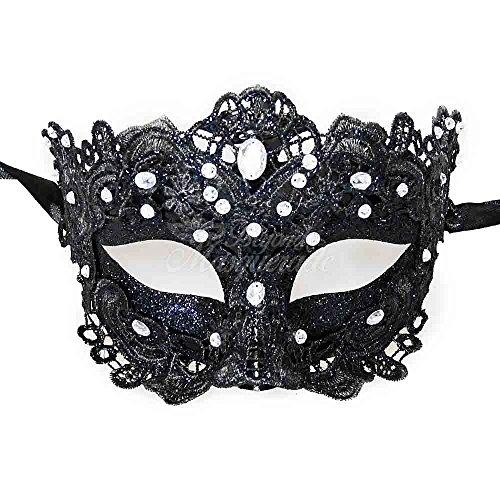 [MasqueradeParty Brocade Lace Venetian Masquerade Mask Women with Rhinestones - Black] (Black Lace Masquerade Masks)