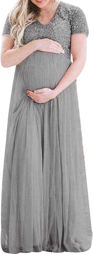 Shujin Umstandskleid Festlich Maxi Spitzenkleid Chiffon Kurzarm Sommerkleid Schwangere Fotoshooting Kleider