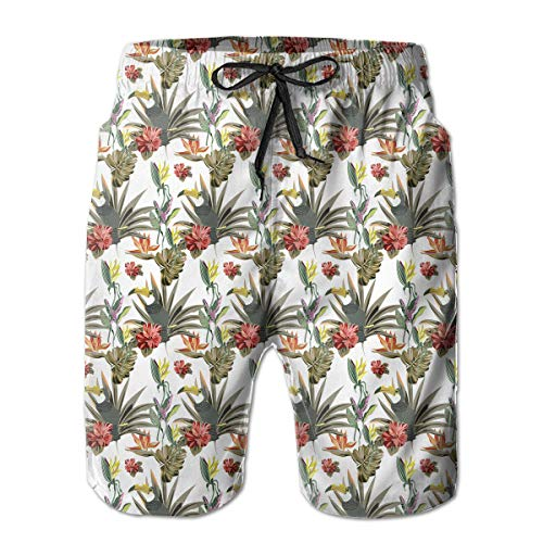 Restoration of Plants and Birds Mens Swim Trunks Bathing Suit Shorts Board Beach White