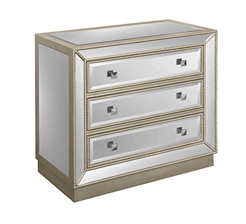Beaded Treasure (Treasure Trove Accents 17450 Three Drawer Chest, Champagne/Mirror)