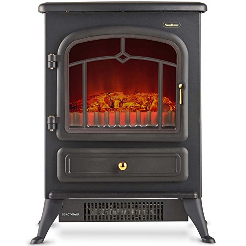 VonHaus Electric Stove Heater Fireplace with Realistic Log Wood Burning Flame Effect and 2 Heat Settings - Portable Free Standing Space Heater 1500W - Black ()