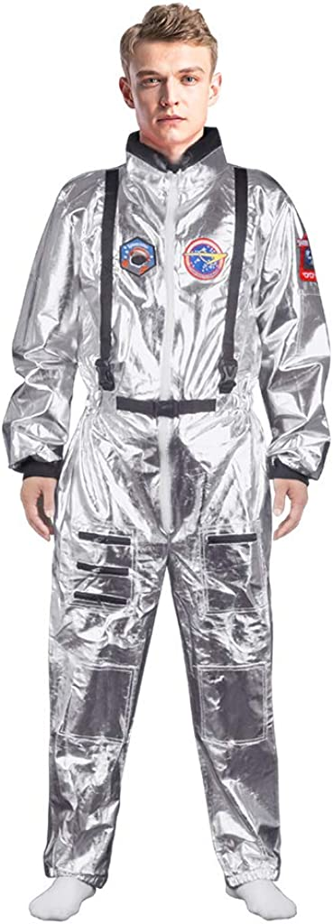 Spaceman Suit Jumpsuit for Halloween Cosplay Costume Adult Astronaut Costume for Men and Women