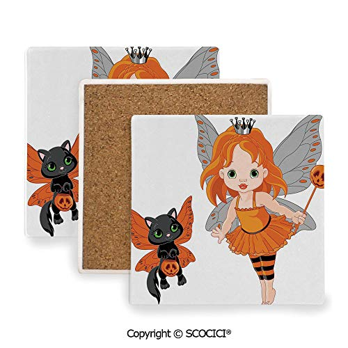 Ceramic coaster With wood Bottom Protection, For Mugs, Wine Glasses, Protects Furniture Square,Halloween,Halloween Baby Fairy and Her Cat in -