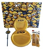 Minion Despicable Me Child's Serving Table Setting Utensils Bundle - 5 Items: One Minion Plastic Placemat, One Minion Bowl, One Minion Plate, One Minion Straw, One Set of Utensils