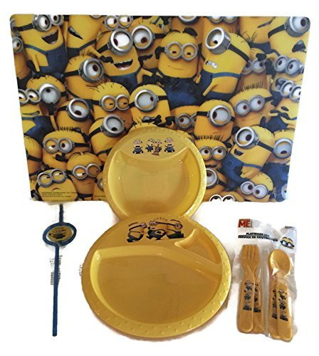 Minion Despicable Me Child's Serving Table Setting Utensils Bundle - 5 Items: One Minion Plastic Placemat, One Minion Bowl, One Minion Plate, One Minion Straw, One Set of Utensils by Unknown