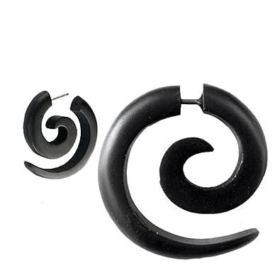 Chic-Net pendiente tribal Sono espiral de madera en acero inoxidable negro-correa Fake