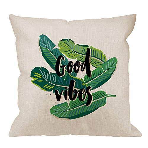 HGOD DESIGNS Good Vibes Pillow Cover, Banana Palm Leaves on the White Background with Tropical Plant Cotton Linen Cushion Cover Square Standard Home Decorative Throw Pillow 18x18 inch White (Design Pillow Cover)
