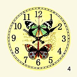 WuuLii Decor Wall Clock-Round 12-inch Cafe Wall Clock Personality Vintage French American Wall Clock, Butterflies