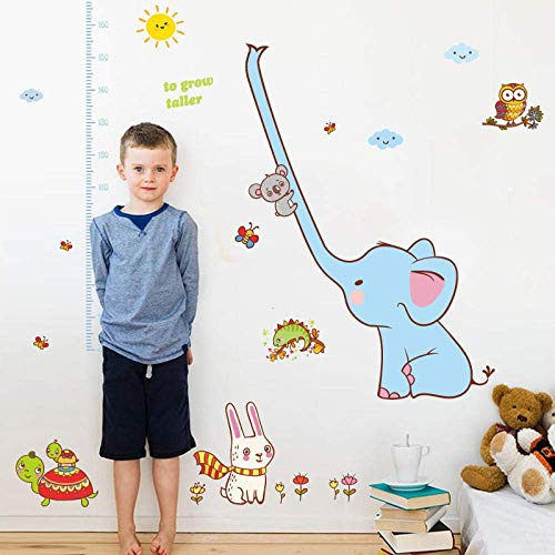 iofjs Elephant Animal Height Measuring Ruler Kindergarten Nursery Children Room Removable Wall Stickers Decal Decor Mural Poster