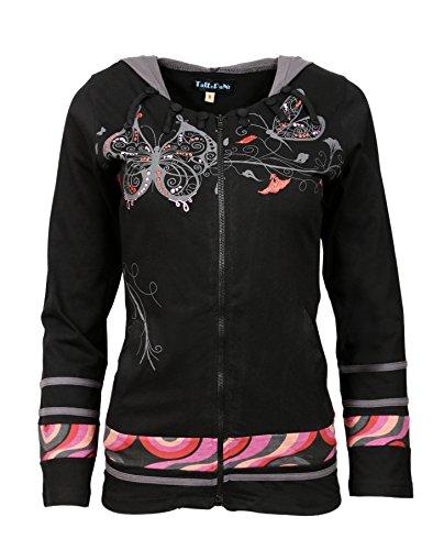manches Sinker longues avec color Noir Imprimer noir Veste papillon Mesdames B5q1EHnxw