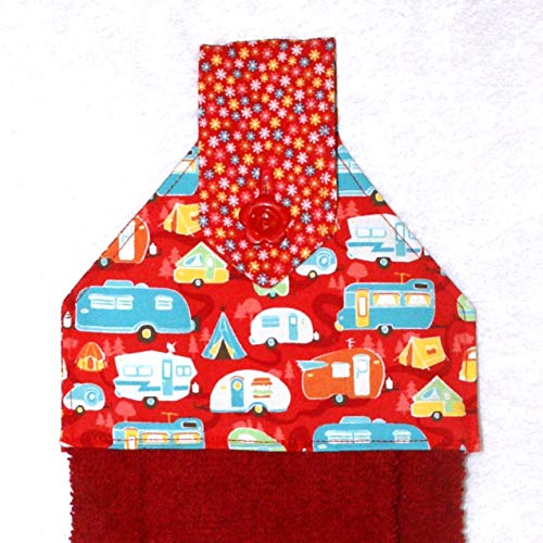 Hanging Hand Towel For Kitchen or Bath - RV Camping Decor - Red Plush Towel - Retro Camping Trailers ()