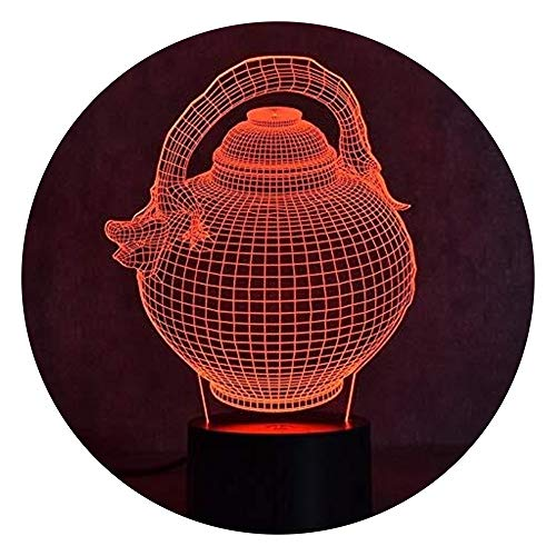 JINXUXIONGDI 3D Teapot Shape LED Night Light, Children's Bedroom Bedside Table Touch Switch Colorful Gradient Light Table Lamp Lighting Source Lighting Decoration, Birthday Christmas Table Lamp Gift
