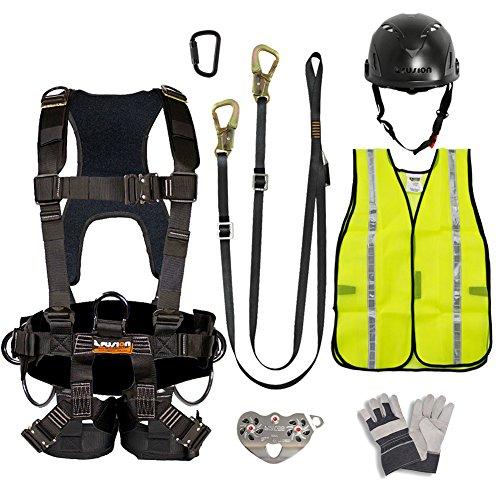 Fusion Climb Pro Backyard Zip Line Kit Harness Lanyard Trolley Carabiner Helmet Vest Glove Bundle FK-A-HLTCHVG-27