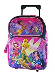 Full Size Black Tinkerbell Rolling Backpack - Tinkerbell Luggage with Wheels