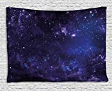 Ambesonne Galaxy Tapestry Wall Hanging, Celestial Stars in Night Sky Stardust with in Clouds Magical Fantasy World of Space, Bedroom Living Room Dorm Decor, 60 W X 40 L Inches, Navy Blue Purple