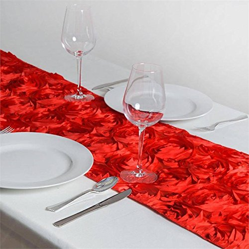 BalsaCircle 14 x 108-Inch Red Raised Roses Table Top Runner - Wedding Party Reception Occasions Linens Decorations