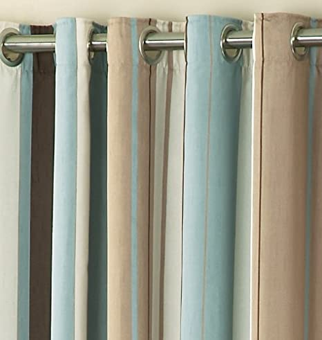 Whitworth Duck Egg Blue Stripe Readymade Lined Eyelet Curtains ...