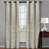 Claire Jacquard Grommet Top Curtain Panel Window Treatment – Set of Two (2) – Multiple Sizes & Colors Available For Sale