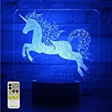 Night Lights for Kids Unicorn 3D Night Lamps Birthday Gifts or Kids Room Décor with Remote 7 Colors Adjustable
