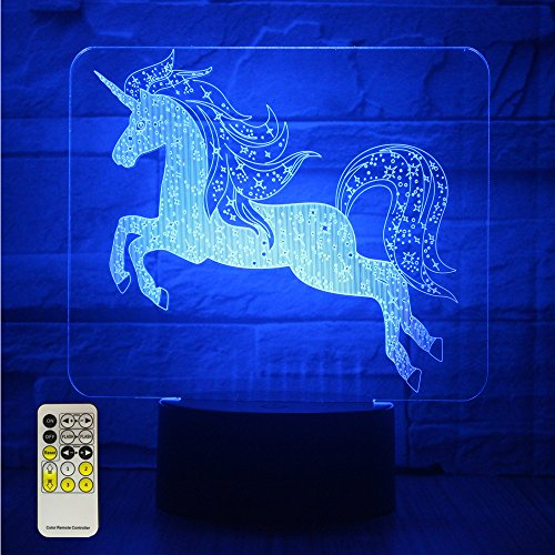 Night Lights for Kids Unicorn 3D Night Lamps Birthday Gifts or Kids Room Décor with Remote 7 Colors Adjustable by eTongtop