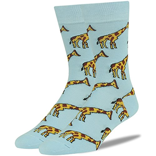 Novelty Gift Sock, SUTTOS mens fashion socks Christmas Socks For Men Luxury Fashion Giraffe Cartoon Socks Zoo Animal Themed Soft Combed Cotton Warm Blue Casual Fun Christmas Gift 2 -
