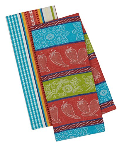 (Design Imports Baja Cantina Cotton Southwest Table Linens, Dishtowel 18-Inch by 28-Inch, Set of 2, 1 Chili Pepper and 1 Baja Stripe)
