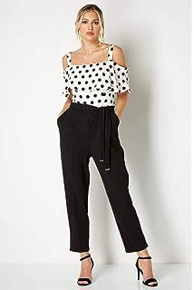 77059d327e21 Roman Originals Women Polka Dot Print Cold Shoulder Bardot Party Jumpsuit -  Ladies Fashion Trouser Jumpsuits for…