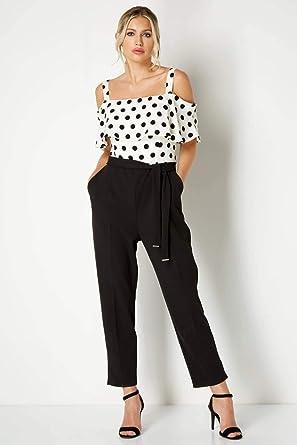 2e16b0c528 Roman Originals Women s Black Polka Dot Print Bardot Jumpsuit - Black 14
