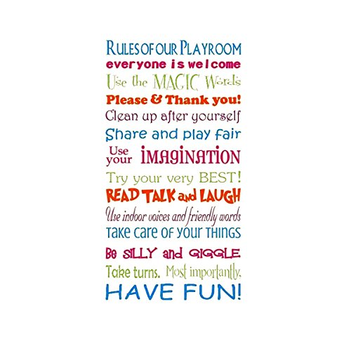 KingSo® Wall Stickers decor Decal Playroom Rules Word Vinyl