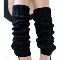 Upstore 1Pair Long 43cm/16.9'' Thicken Elastic Knitted Winter Fashion Thermal Leg Warmers Stocking Long Sock Boot Cuffs Topper Legging Pads Clothing Accessories for Women Lady Girls, womens, Black, Free