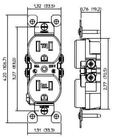 Amazon Com Leviton T5320 W 15a 125v Tamper Resistant Duplex