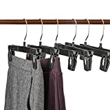 HOUSE DAY Recycled Plastic Pants Hangers, Black Pinch Grip Hangers, Break Resistant Clip Trouser Hangers with Polished Chrome Swivel Hooks, Bottom Hangers with Clips #1 (25)