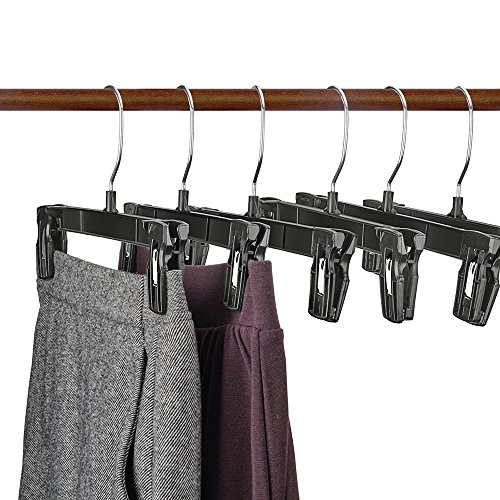 House Day Recycled Plastic Pants Hangers, 25 Pack 10 Black Pinch Grip Hangers, Break Resistant Clip Trouser Hangers with Polished Chrome Swivel Hooks, Bottom Hangers with Clips #1