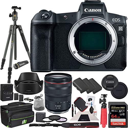 (Canon EOS R Full-Frame Mirrorless Digital Camera with RF 24-105mm F4 L is USM Lens Kit Including Vanguard VEO 2 Tripod Deco Gear Photo Video Pro Case 2X Extra Battery 77mm Filter Set Bundle)