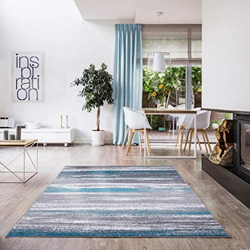 Luxe Weavers Victoria Abstract Turquoise 9×12 Area Rug 9085