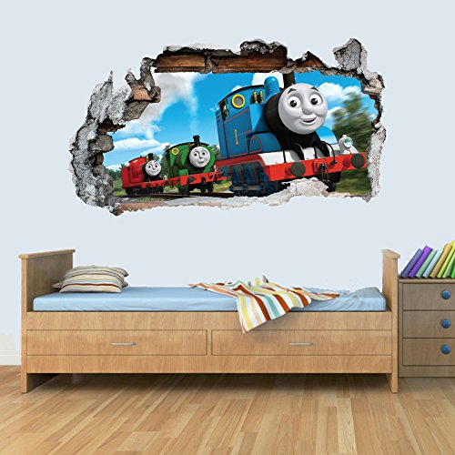 Trains 3D Smashed Wall Art Decal Vinyl Sticker Boys Girls Bedroom Trains M