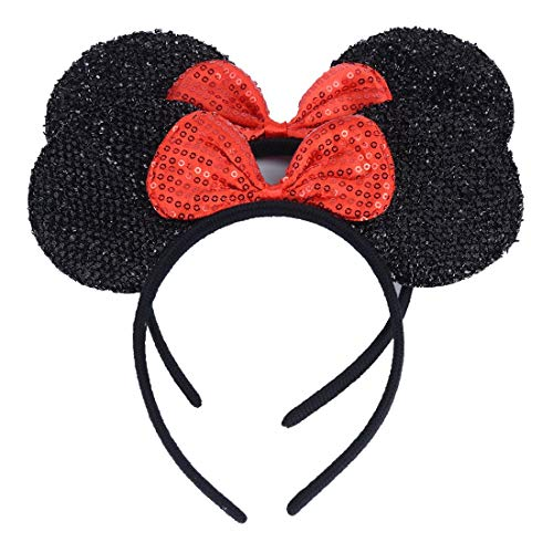 Set of 2 Mickey Minnie Mouse Ears Headband Boys Girls Birthday Party Mom Hairs Accessories Baby Shower Headwear Halloween Party Decorations Glitter Deluxe Fabric Ears with Dots Bow (Black Sequin Red)]()