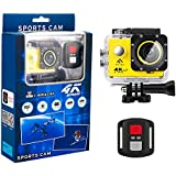 FINEC F60R Waterproof Sports Action Camera 4K 16 MP Ultra HD WIFI 170 Degree Angle Underwater Camcorder With 2.0Inch LCD Screen And Full Accessories Kits (Yellow)