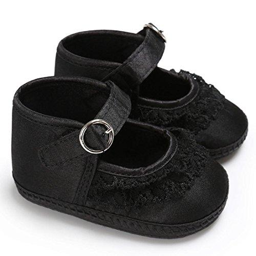 Clode® Baby Kleinkind Mädchen Spitze Cute Leopard Print Krippe Schuhe Soft Prewalker Schuhe Schwarz