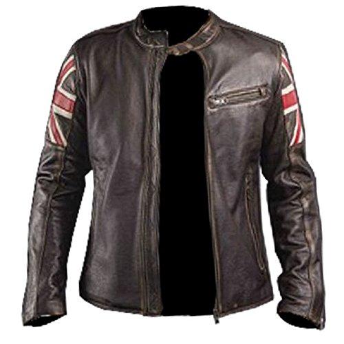 Teschio Biker Bandiera In Giacca Rilievo Vintage Stile Uk Moto Logo Marrone Scuro Pelle Vera Retro Sul Con q7x5Uwf