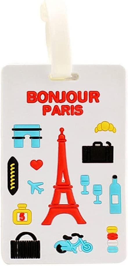 Color/é mignon Lovely Sweety silicone bagages sac de voyage Identifiant Valise Bagage Sac Voyage bagages /étiquettes didentification Nom Adresse Titulaire Blue Windmill