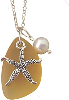 """product image for Handmade in Hawaii, Yellow Topaz""""November Birthstone Color"""" sea glass necklace, Starfish Charm, Freshwater pearl, (Hawaii Gift Wrapped, Customizable Gift Message)"""