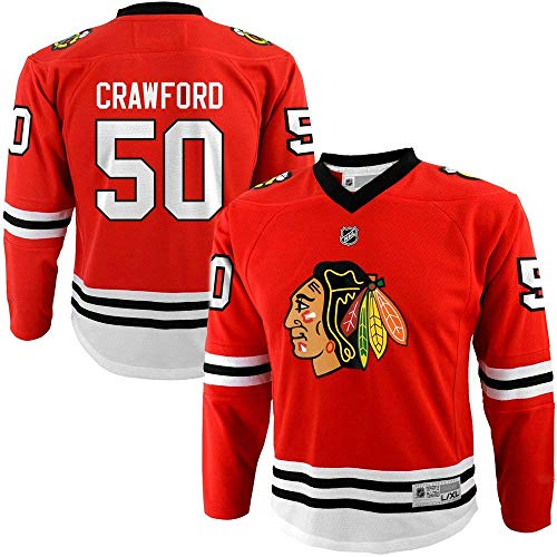 Corey Crawford Chicago Blackhawks NHL Youth Red Replica Player Jersey (Youth Small/Medium 8-12)