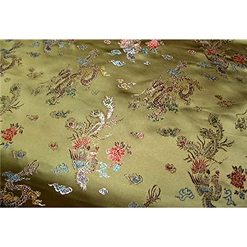 Chinese Faux Silk Dragon Peacock Brocade Satin Fabric Sold By The Yard (Dark Gold)